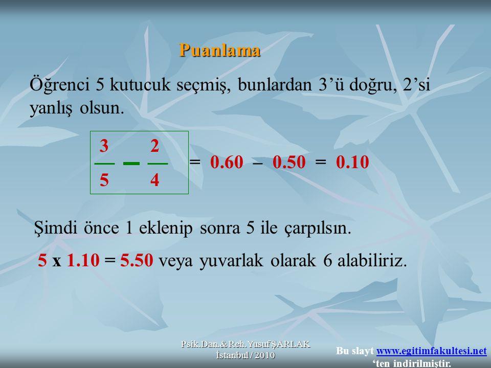 Psik.Dan.& Reh.Yusuf ŞARLAK İstanbul / 2010 Puanlama 3 2 5 4 Öğrenci 5 kutucuk seçmiş, bunlardan 3'ü doğru, 2'si yanlış olsun.