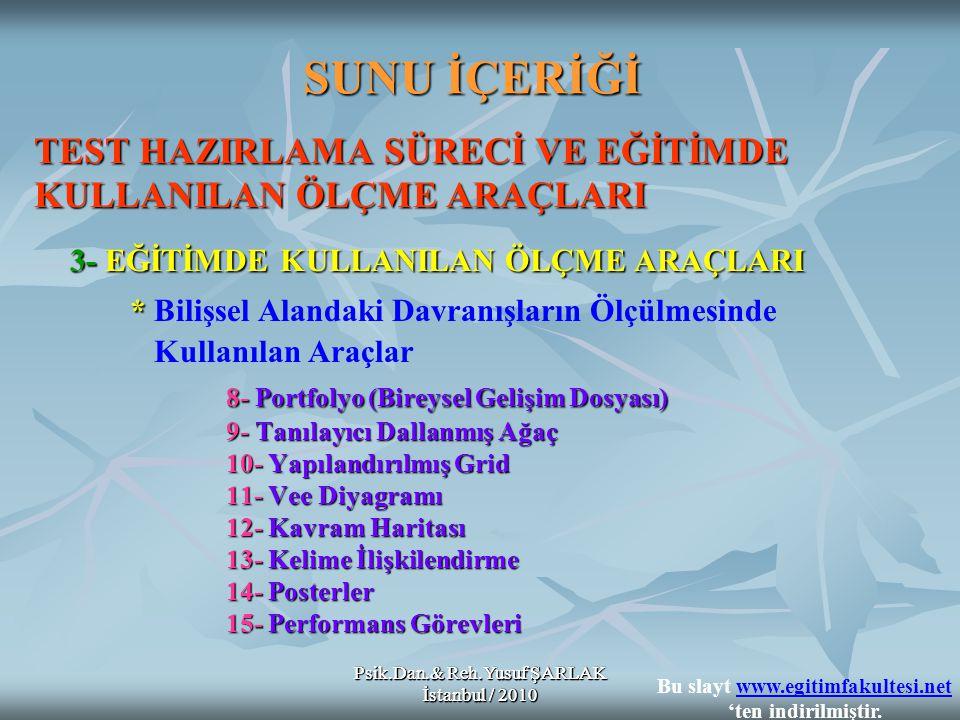 Psik.Dan.& Reh.Yusuf ŞARLAK İstanbul / 2010 SUNU İÇERİĞİ TEST HAZIRLAMA SÜRECİ VE EĞİTİMDE KULLANILAN ÖLÇME ARAÇLARI 3- EĞİTİMDE KULLANILAN ÖLÇME ARAÇLARI * * Bilişsel Alandaki Davranışların Ölçülmesinde Kullanılan Araçlar 8- Portfolyo (Bireysel Gelişim Dosyası) 9- Tanılayıcı Dallanmış Ağaç 10- Yapılandırılmış Grid 11- Vee Diyagramı 12- Kavram Haritası 13- Kelime İlişkilendirme 14- Posterler 15- Performans Görevleri Psik.Dan.& Reh.Yusuf ŞARLAK İstanbul / 2010 Bu slayt www.egitimfakultesi.net 'ten indirilmiştir.www.egitimfakultesi.net