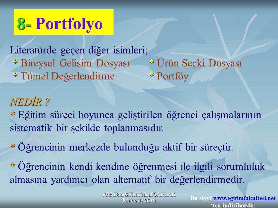 Psik.Dan.& Reh.Yusuf ŞARLAK İstanbul / 2010 8- 8- Portfolyo Literatürde geçen diğer isimleri; ** * Bireysel Gelişim Dosyası* Ürün Seçki Dosyası ** * Tümel Değerlendirme* Portföy NEDİR .