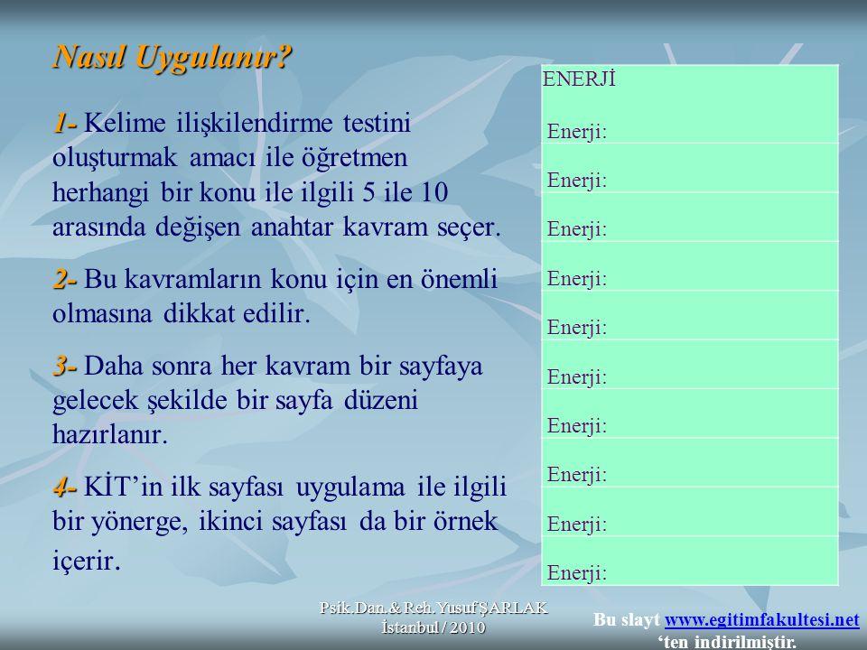 Psik.Dan.& Reh.Yusuf ŞARLAK İstanbul / 2010 Nasıl Uygulanır? 1- 2- 3- 4- Nasıl Uygulanır? 1- Kelime ilişkilendirme testini oluşturmak amacı ile öğretm