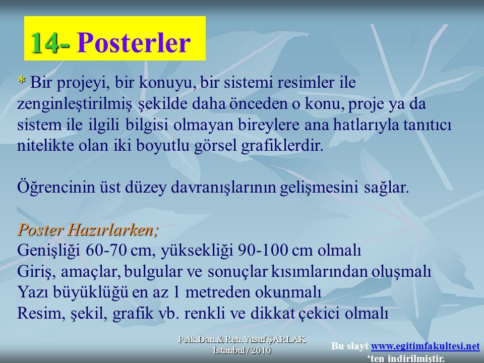 Psik.Dan.& Reh.Yusuf ŞARLAK İstanbul / 2010 14- 14- Posterler * * Bir projeyi, bir konuyu, bir sistemi resimler ile zenginleştirilmiş şekilde daha önceden o konu, proje ya da sistem ile ilgili bilgisi olmayan bireylere ana hatlarıyla tanıtıcı nitelikte olan iki boyutlu görsel grafiklerdir.