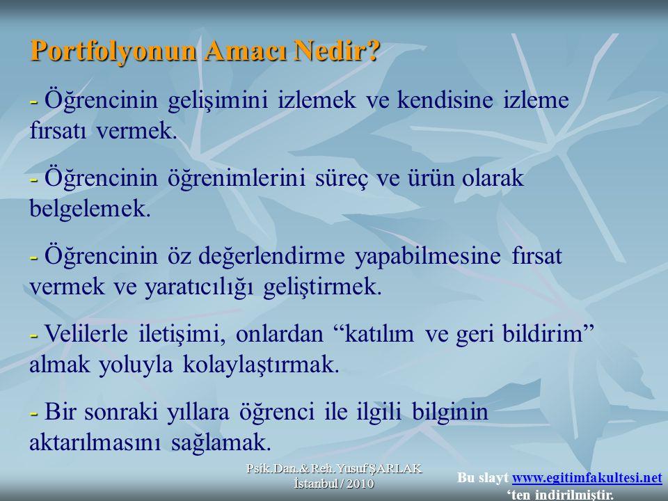 Psik.Dan.& Reh.Yusuf ŞARLAK İstanbul / 2010 Portfolyonun Amacı Nedir? - - Öğrencinin gelişimini izlemek ve kendisine izleme fırsatı vermek. - - Öğrenc