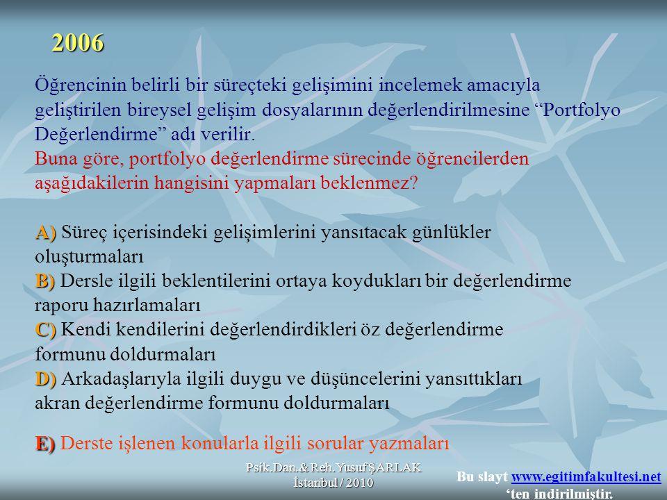 Psik.Dan.& Reh.Yusuf ŞARLAK İstanbul / 2010 A) B) C) D) E) Öğrencinin belirli bir süreçteki gelişimini incelemek amacıyla geliştirilen bireysel gelişi