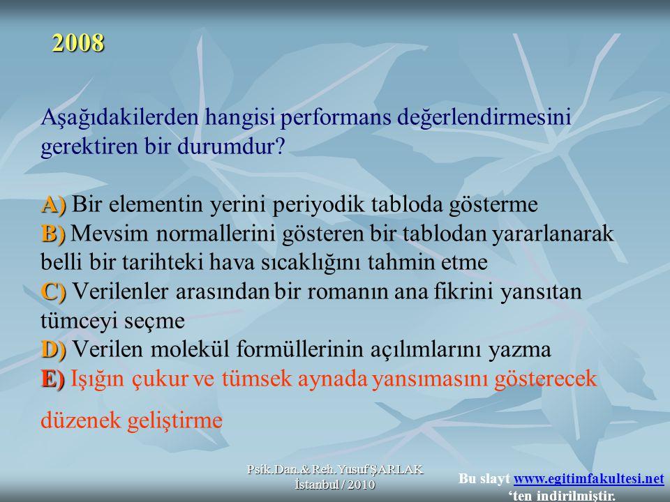 Psik.Dan.& Reh.Yusuf ŞARLAK İstanbul / 2010 A) B) C) D) E) Aşağıdakilerden hangisi performans değerlendirmesini gerektiren bir durumdur? A) Bir elemen