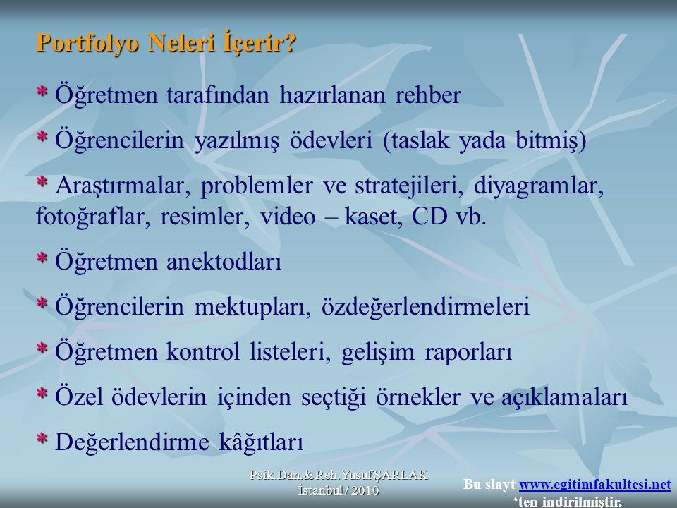 Psik.Dan.& Reh.Yusuf ŞARLAK İstanbul / 2010 Portfolyo Neleri İçerir? * * Öğretmen tarafından hazırlanan rehber * * Öğrencilerin yazılmış ödevleri (tas
