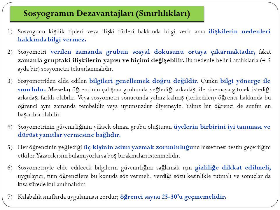 Sosyogramın Dezavantajları (Sınırlılıkları) 1)Sosyogram ki ş ilik tipleri veya ili ş ki türleri hakkında bilgi verir ama ili ş kilerin nedenleri hakkında bilgi vermez.