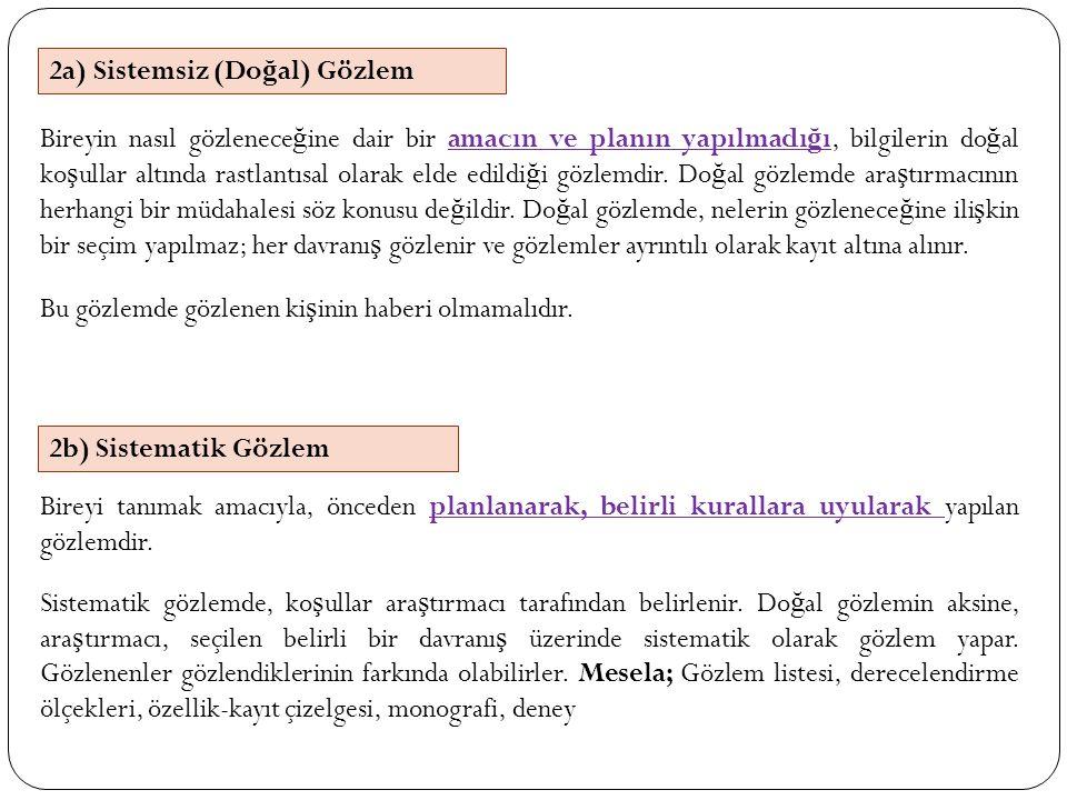 2a) Sistemsiz (Do ğ al) Gözlem 2b) Sistematik Gözlem Bireyin nasıl gözlenece ğ ine dair bir amacın ve planın yapılmadı ğ ı, bilgilerin do ğ al ko ş ul