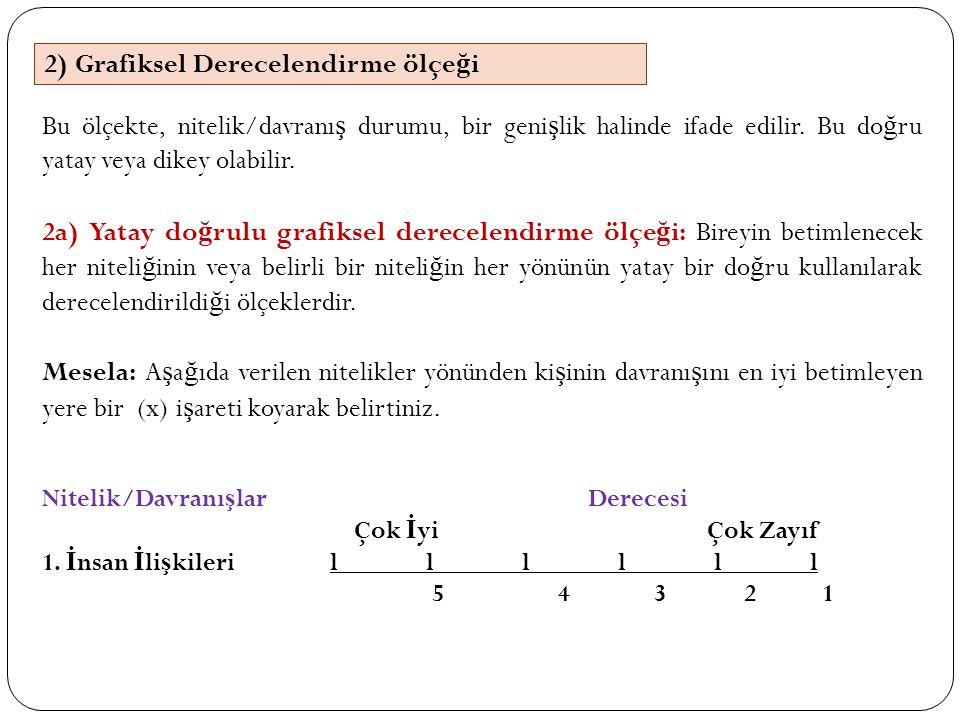 Bu ölçekte, nitelik/davranı ş durumu, bir geni ş lik halinde ifade edilir. Bu do ğ ru yatay veya dikey olabilir. 2a) Yatay do ğ rulu grafiksel derecel