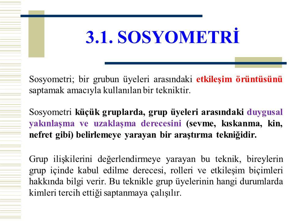 3.1. SOSYOMETRİ Sosyometri; bir grubun üyeleri arasındaki etkileşim örüntüsünü saptamak amacıyla kullanılan bir tekniktir. Sosyometri küçük gruplarda,
