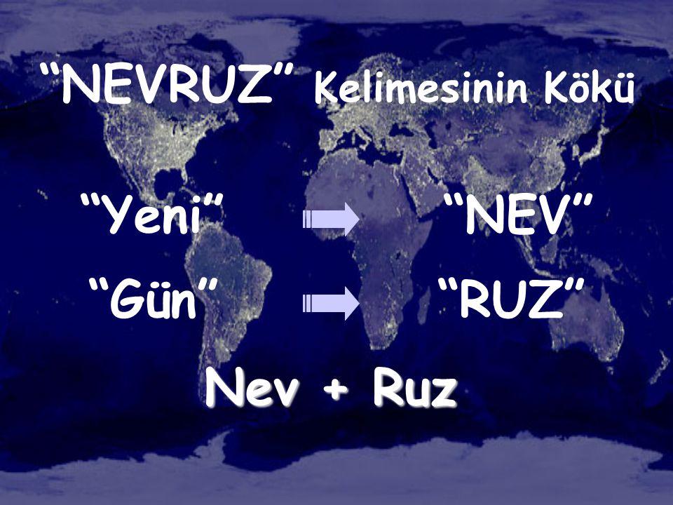 """""""NEVRUZ"""" Kelimesinin Kökü """"Yeni"""" """"NEV"""" """"Gün"""" """"RUZ"""" Nev + Ruz"""