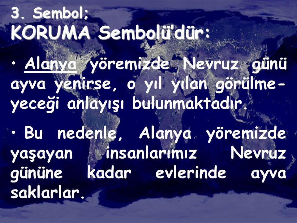 3. Sembol; KORUMA Sembolü'dür: • Alanya yöremizde Nevruz günü ayva yenirse, o yıl yılan görülme- yeceği anlayışı bulunmaktadır. • Bu nedenle, Alanya y