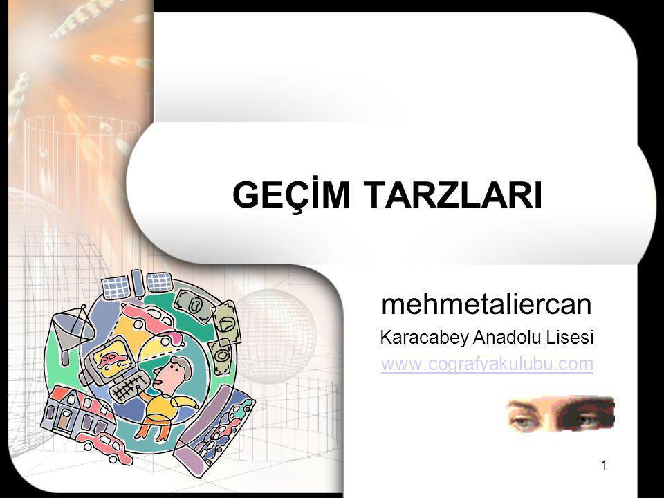 1 GEÇİM TARZLARI mehmetaliercan Karacabey Anadolu Lisesi www.cografyakulubu.com