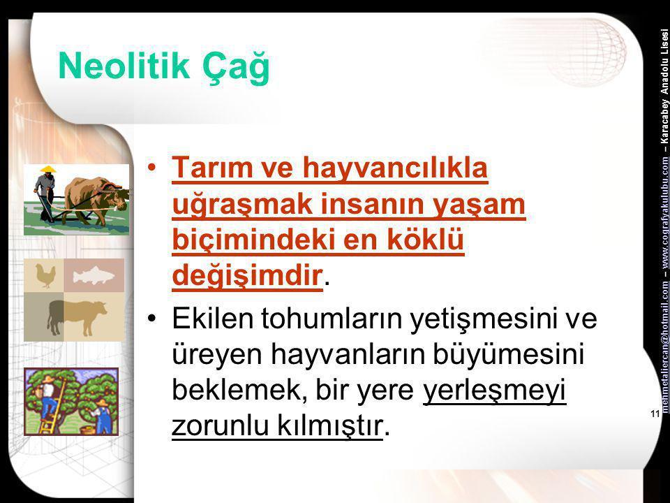 mehmetaliercan@hotmail.commehmetaliercan@hotmail.com – www.cografyakulubu.com – Karacabey Anadolu Lisesiwww.cografyakulubu.com 10 Neolitik Çağ Ticaret