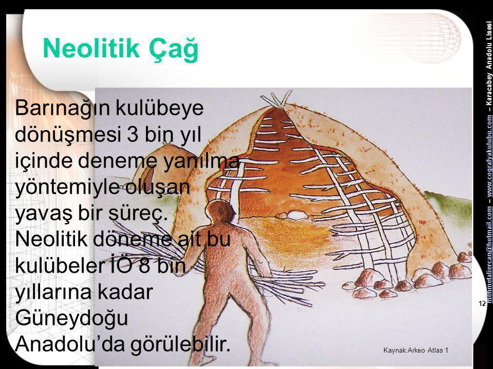 mehmetaliercan@hotmail.commehmetaliercan@hotmail.com – www.cografyakulubu.com – Karacabey Anadolu Lisesiwww.cografyakulubu.com 11 Neolitik Çağ •Tarım