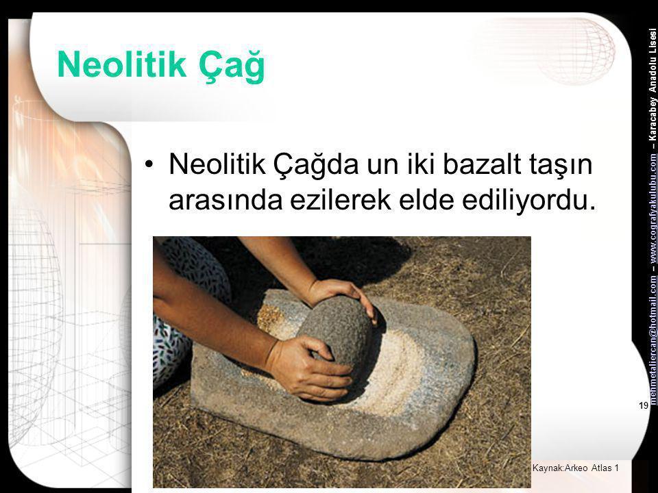 mehmetaliercan@hotmail.commehmetaliercan@hotmail.com – www.cografyakulubu.com – Karacabey Anadolu Lisesiwww.cografyakulubu.com 18 Neolitik Çağ •Niğde