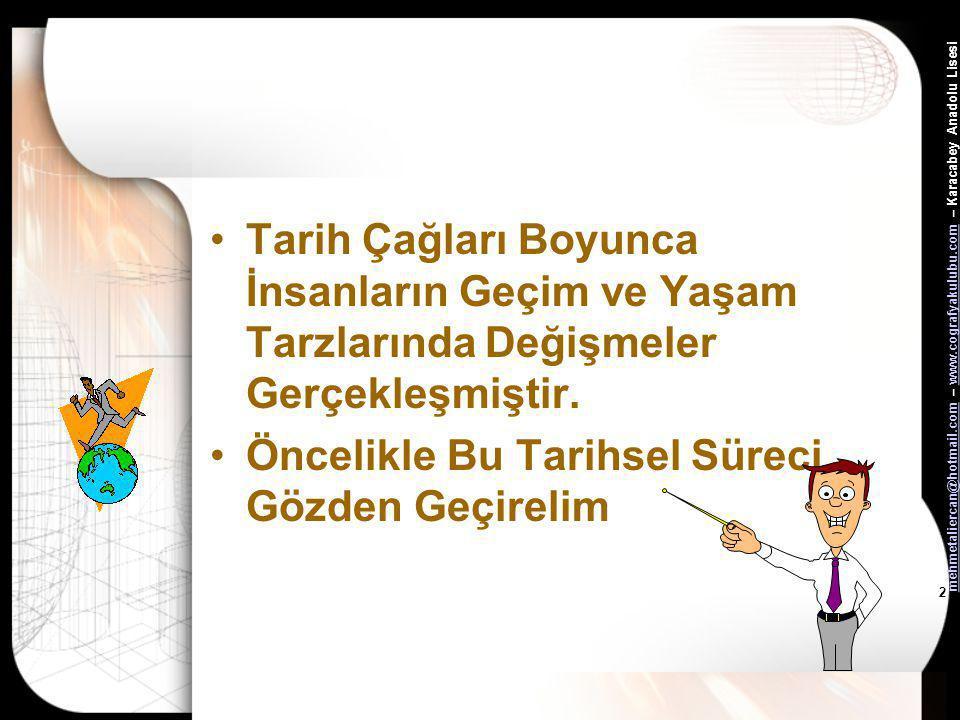 mehmetaliercan@hotmail.commehmetaliercan@hotmail.com – www.cografyakulubu.com – Karacabey Anadolu Lisesiwww.cografyakulubu.com 2 •Tarih Çağları Boyunca İnsanların Geçim ve Yaşam Tarzlarında Değişmeler Gerçekleşmiştir.