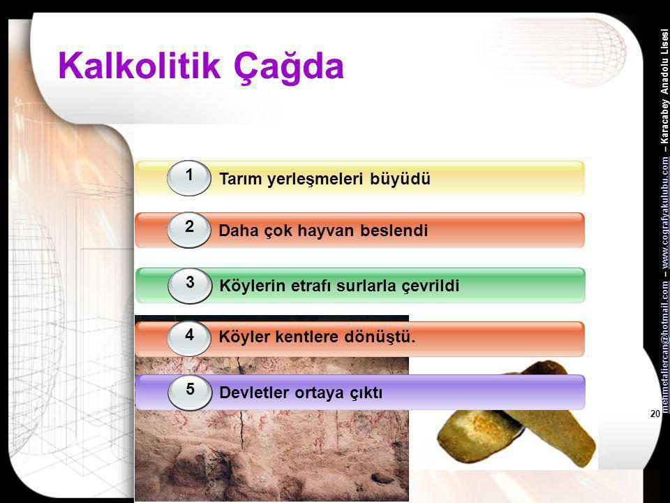 mehmetaliercan@hotmail.commehmetaliercan@hotmail.com – www.cografyakulubu.com – Karacabey Anadolu Lisesiwww.cografyakulubu.com 19 Neolitik Çağ •Neolit