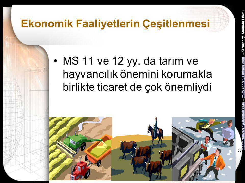mehmetaliercan@hotmail.commehmetaliercan@hotmail.com – www.cografyakulubu.com – Karacabey Anadolu Lisesiwww.cografyakulubu.com 29 Ekonomik Faaliyetler