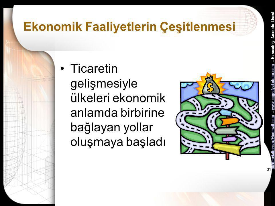 mehmetaliercan@hotmail.commehmetaliercan@hotmail.com – www.cografyakulubu.com – Karacabey Anadolu Lisesiwww.cografyakulubu.com 30 Ekonomik Faaliyetler