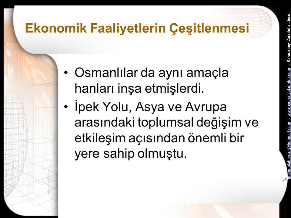 mehmetaliercan@hotmail.commehmetaliercan@hotmail.com – www.cografyakulubu.com – Karacabey Anadolu Lisesiwww.cografyakulubu.com 33 Ekonomik Faaliyetler