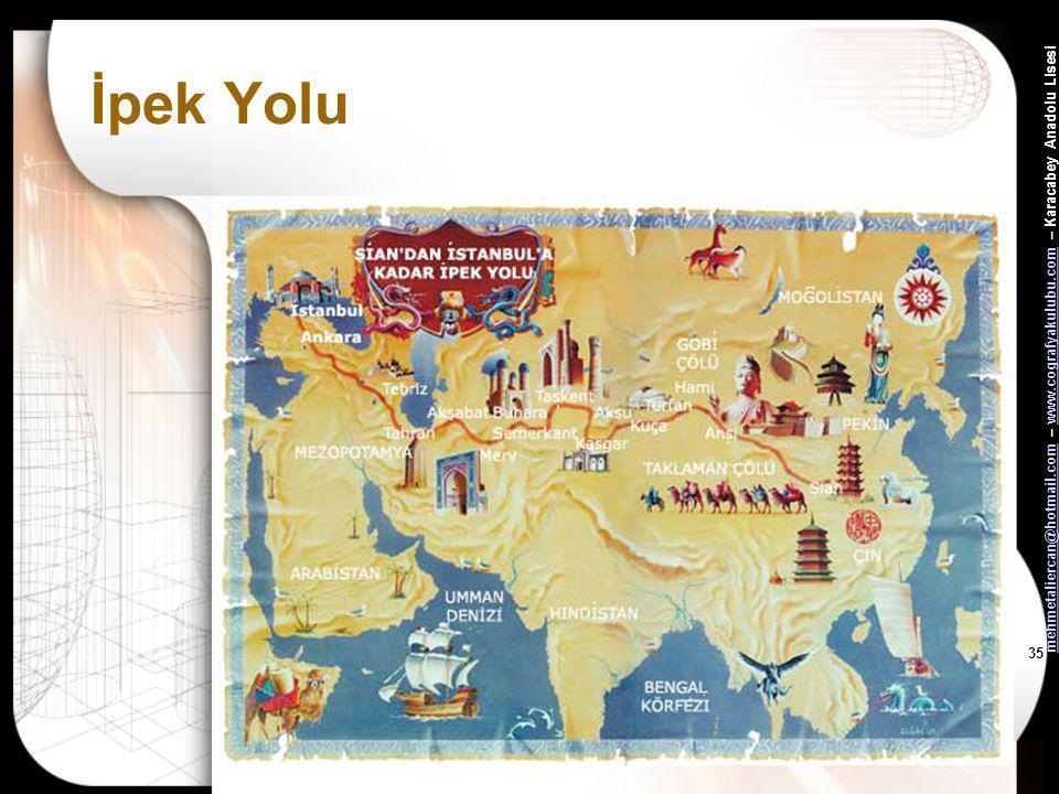 mehmetaliercan@hotmail.commehmetaliercan@hotmail.com – www.cografyakulubu.com – Karacabey Anadolu Lisesiwww.cografyakulubu.com 34 Ekonomik Faaliyetler