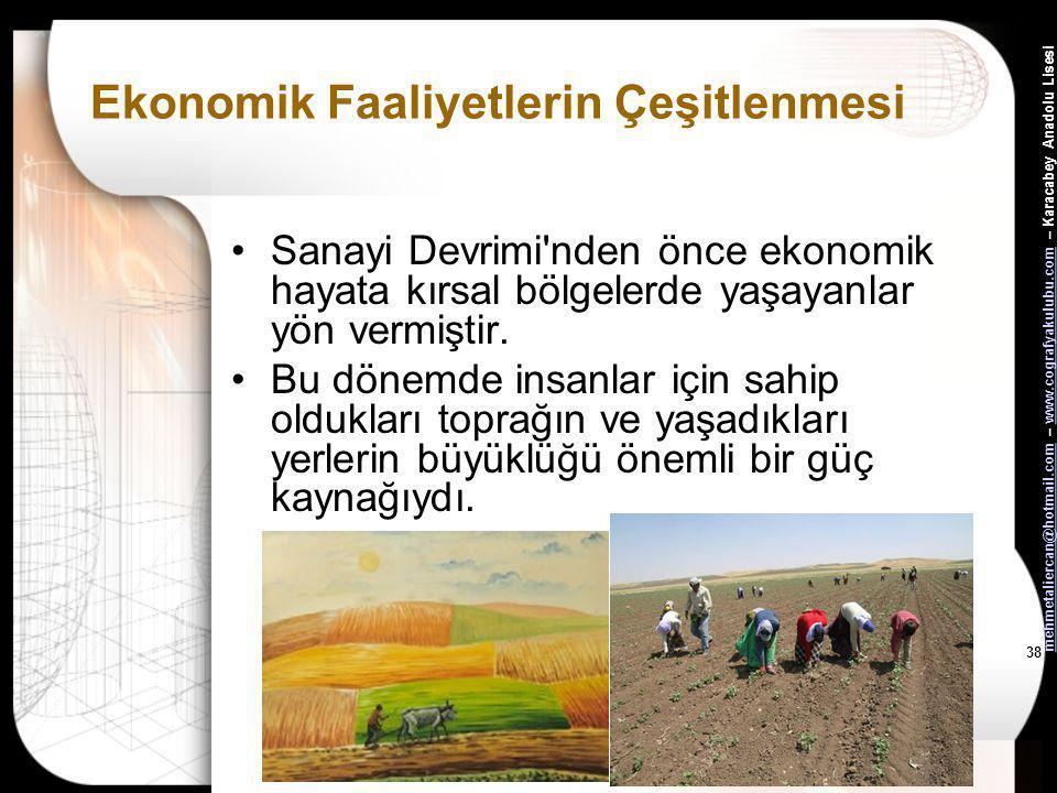 mehmetaliercan@hotmail.commehmetaliercan@hotmail.com – www.cografyakulubu.com – Karacabey Anadolu Lisesiwww.cografyakulubu.com 37 Ekonomik Faaliyetler