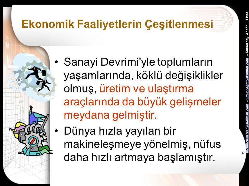 mehmetaliercan@hotmail.commehmetaliercan@hotmail.com – www.cografyakulubu.com – Karacabey Anadolu Lisesiwww.cografyakulubu.com 39 Ekonomik Faaliyetler