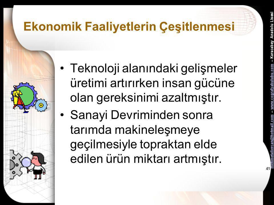 mehmetaliercan@hotmail.commehmetaliercan@hotmail.com – www.cografyakulubu.com – Karacabey Anadolu Lisesiwww.cografyakulubu.com 40 Ekonomik Faaliyetler