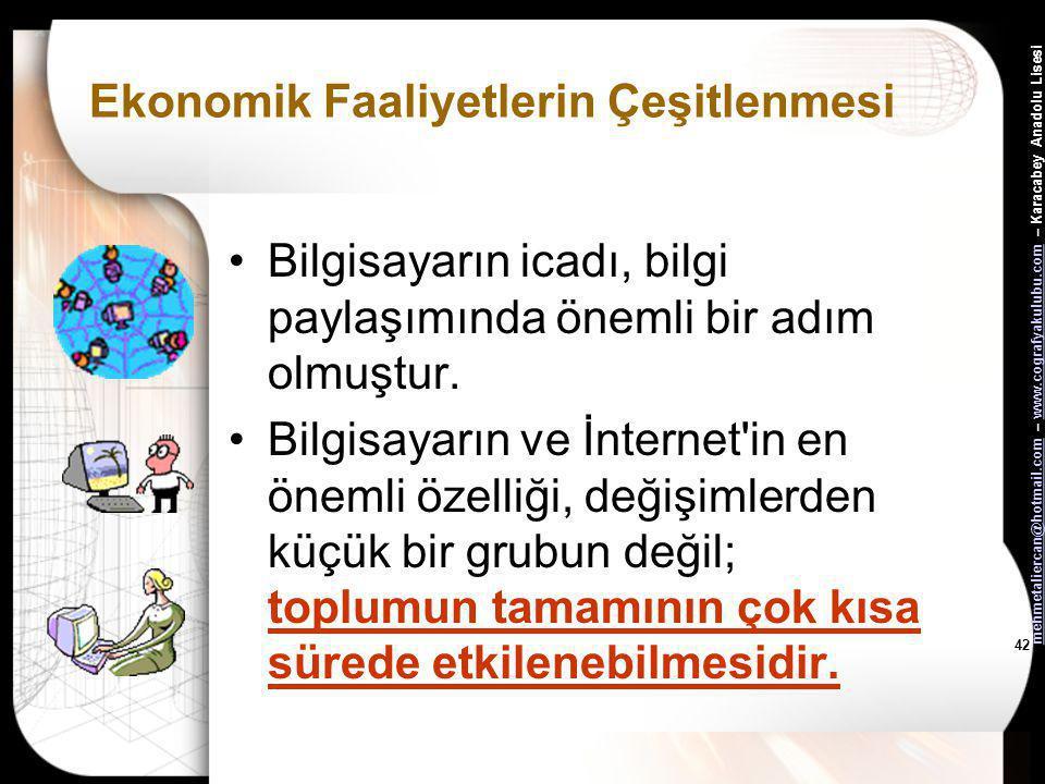 mehmetaliercan@hotmail.commehmetaliercan@hotmail.com – www.cografyakulubu.com – Karacabey Anadolu Lisesiwww.cografyakulubu.com 41 Ekonomik Faaliyetler