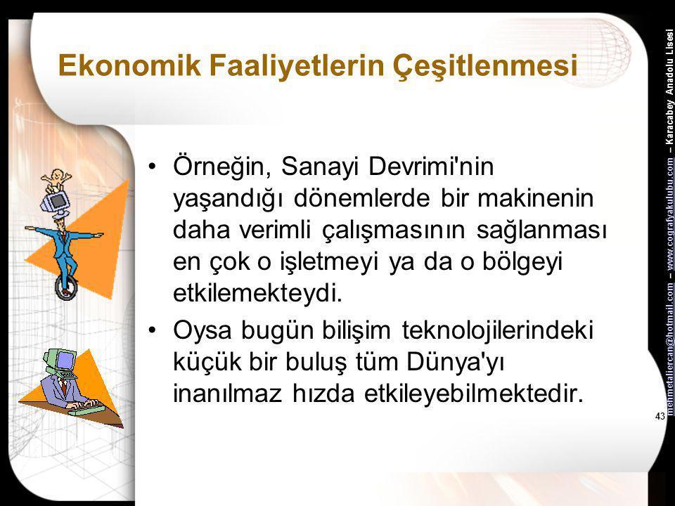 mehmetaliercan@hotmail.commehmetaliercan@hotmail.com – www.cografyakulubu.com – Karacabey Anadolu Lisesiwww.cografyakulubu.com 42 Ekonomik Faaliyetler