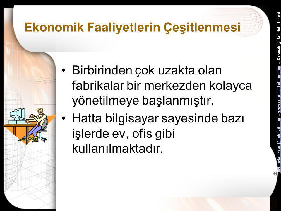 mehmetaliercan@hotmail.commehmetaliercan@hotmail.com – www.cografyakulubu.com – Karacabey Anadolu Lisesiwww.cografyakulubu.com 43 Ekonomik Faaliyetler