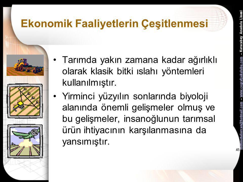 mehmetaliercan@hotmail.commehmetaliercan@hotmail.com – www.cografyakulubu.com – Karacabey Anadolu Lisesiwww.cografyakulubu.com 44 Ekonomik Faaliyetler