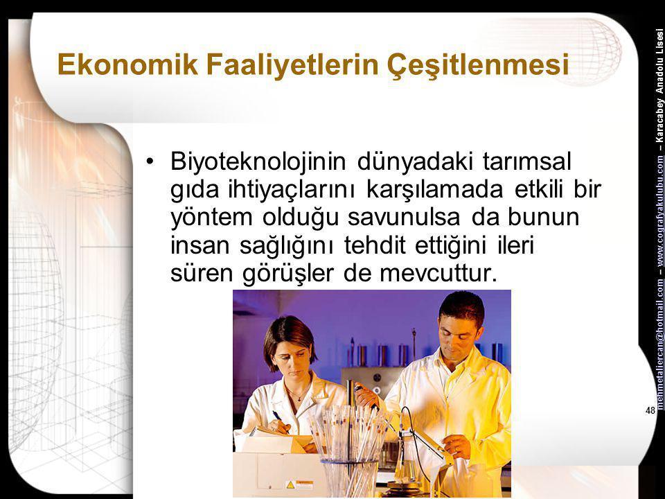 mehmetaliercan@hotmail.commehmetaliercan@hotmail.com – www.cografyakulubu.com – Karacabey Anadolu Lisesiwww.cografyakulubu.com 47 Ekonomik Faaliyetler