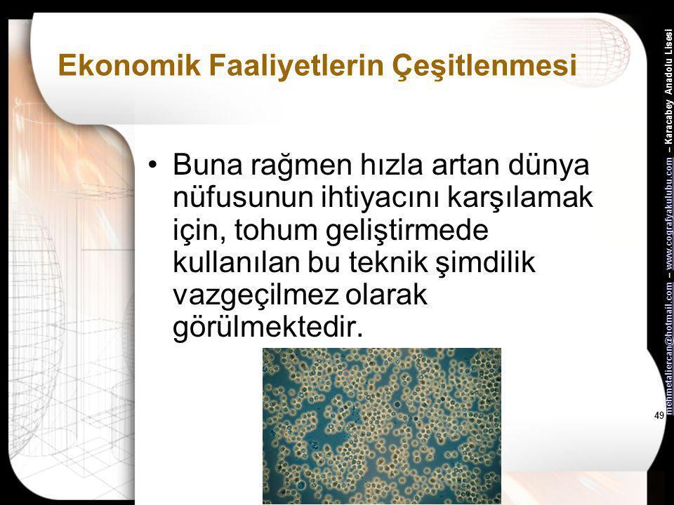 mehmetaliercan@hotmail.commehmetaliercan@hotmail.com – www.cografyakulubu.com – Karacabey Anadolu Lisesiwww.cografyakulubu.com 48 Ekonomik Faaliyetler
