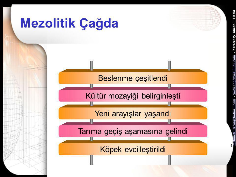 mehmetaliercan@hotmail.commehmetaliercan@hotmail.com – www.cografyakulubu.com – Karacabey Anadolu Lisesiwww.cografyakulubu.com 8 Mezolitik Çağda Beslenme çeşitlendi Kültür mozayiği belirginleşti Yeni arayışlar yaşandı Tarıma geçiş aşamasına gelindi Köpek evcilleştirildi