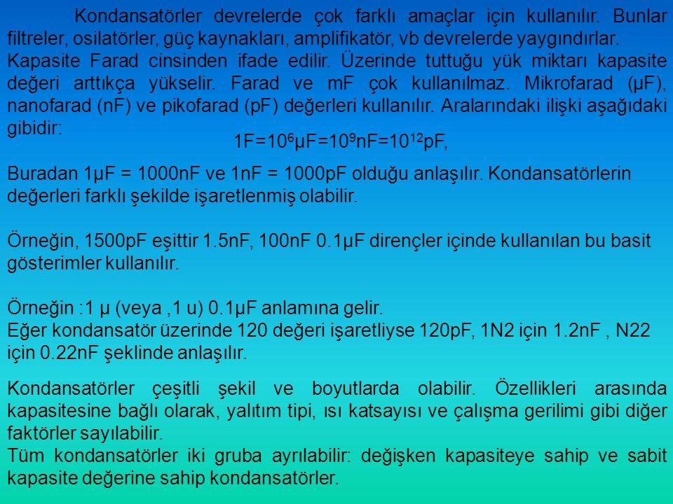 Kondansatörler devrelerde çok farklı amaçlar için kullanılır. Bunlar filtreler, osilatörler, güç kaynakları, amplifikatör, vb devrelerde yaygındırlar.