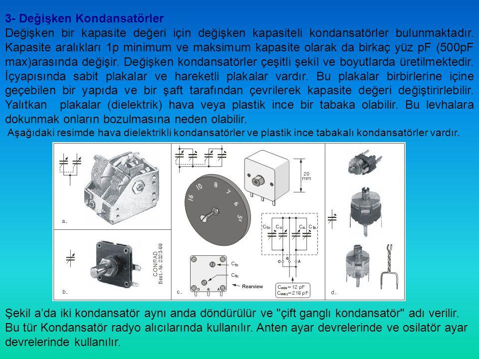 Hava dielektrikli kapasitörler yanında, katı yalıtkanlı değişken kondansatörler bulunmaktadır.