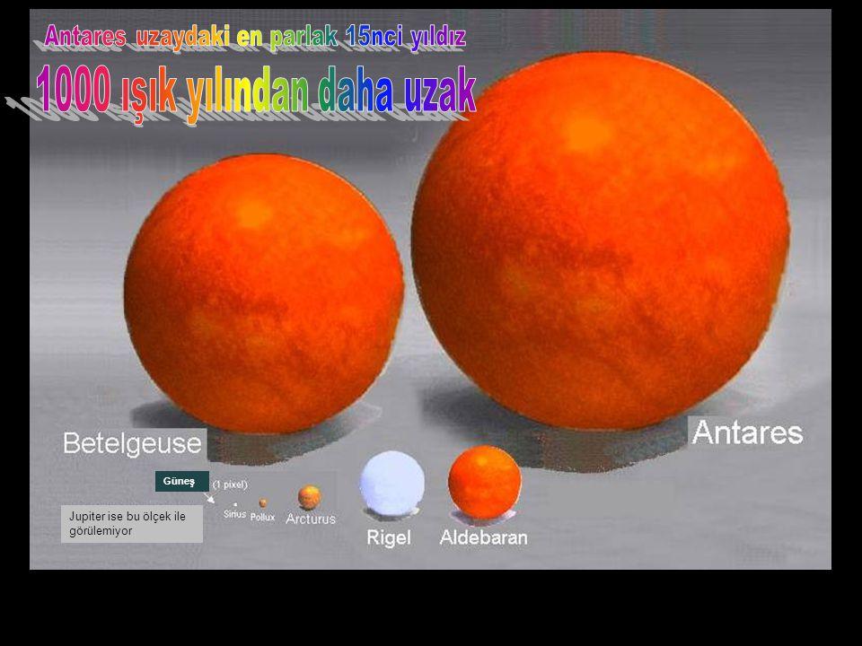 Güneş Arcturus'un yanında ne küçük kaldı değil mi? Güneş 1 pixel'den daha küçük Jupiter yaklaşık 1 pixel büyüklüğünde Güneş