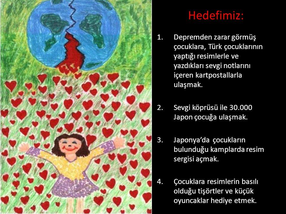 1.Depremden zarar görmüş çocuklara, Türk çocuklarının yaptığı resimlerle ve yazdıkları sevgi notlarını içeren kartpostallarla ulaşmak.