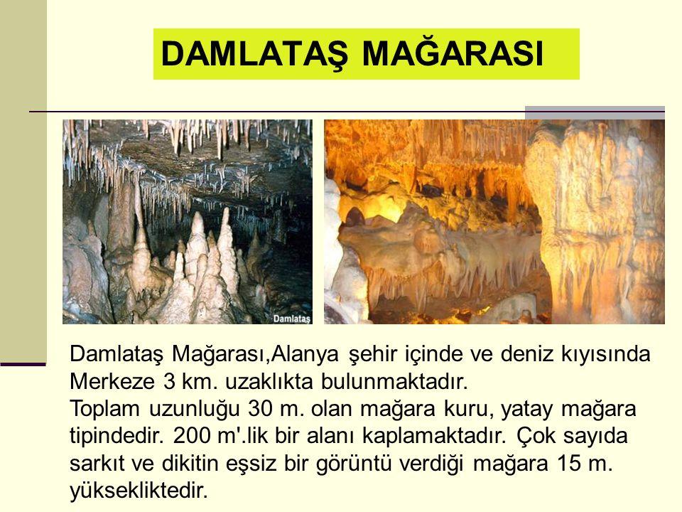 Damlataş Mağarası,Alanya şehir içinde ve deniz kıyısında Merkeze 3 km.