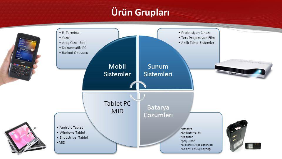 •Batarya •Endüstriyel Pil •Adaptör •Şarj Cihazı •Elektrikli Araç Bataryası •Kesintisiz Güç Kaynağı • Android Tablet • Windows Tablet • Endüstriyel Tablet •MID • Projeksiyon Cihazı • Ters Projeksiyon Filmi • Akıllı Tahta Sistemleri • El Terminali • Yazıcı • Araç Yazıcı Seti • Dokunmatik PC • Barkod Okuyucu Mobil Sistemler Sunum Sistemleri Batarya Çözümleri Tablet PC MID Ürün Grupları