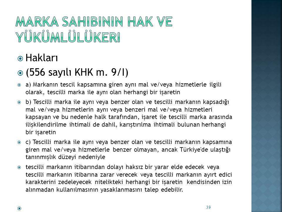  Hakları  (556 sayılı KHK m.