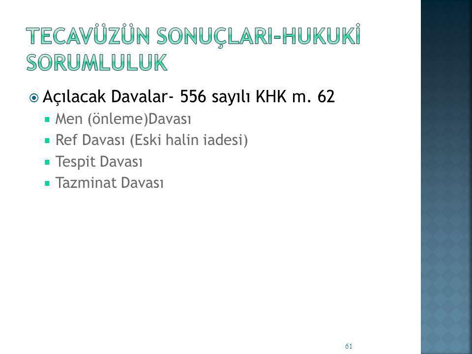  Açılacak Davalar- 556 sayılı KHK m.