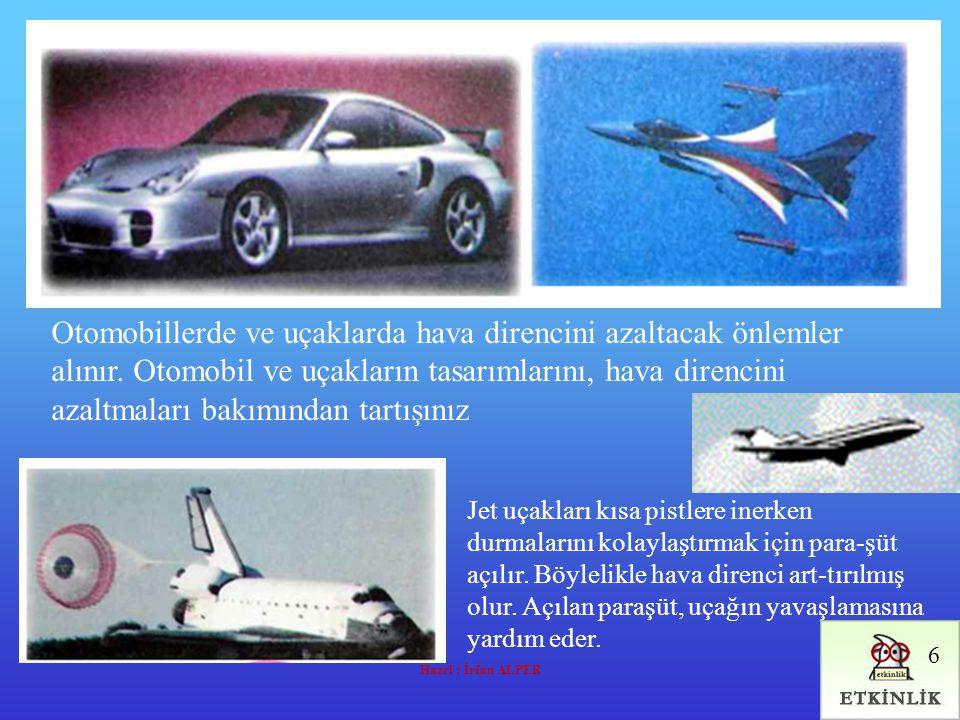 Hazrl : İrfan ALPER Otomobillerde ve uçaklarda hava direncini azaltacak önlemler alınır. Otomobil ve uçakların tasarımlarını, hava direncini azaltmala