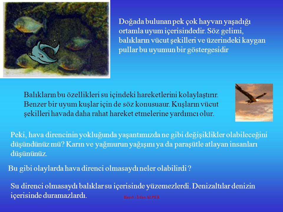 Hazrl : İrfan ALPER Su direnci olmasaydı balıklar su içerisinde yüzemezlerdi.