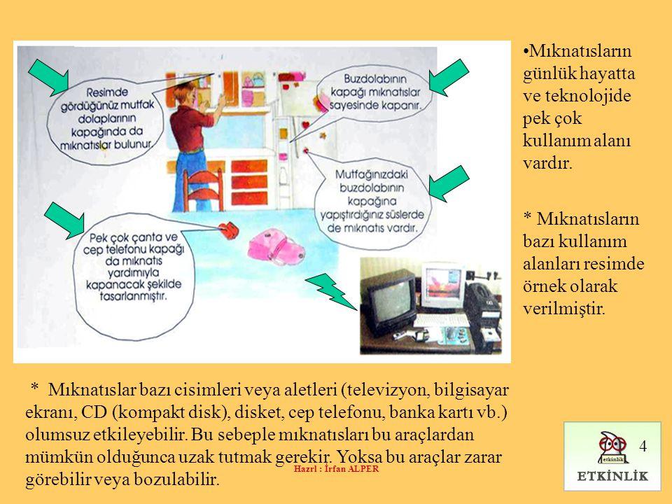 Hazrl : İrfan ALPER •Mıknatısların günlük hayatta ve teknolojide pek çok kullanım alanı vardır. * Mıknatısların bazı kullanım alanları resimde örnek o