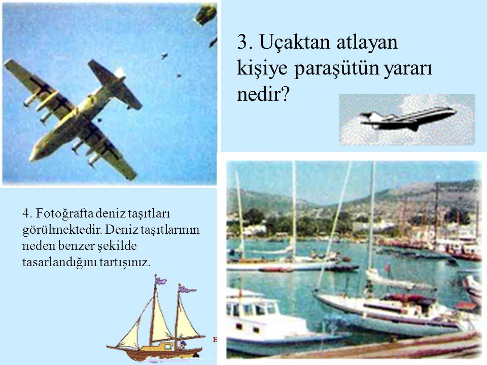 Hazrl : İrfan ALPER 3. Uçaktan atlayan kişiye paraşütün yararı nedir? 4. Fotoğrafta deniz taşıtları görülmektedir. Deniz taşıtlarının neden benzer şek