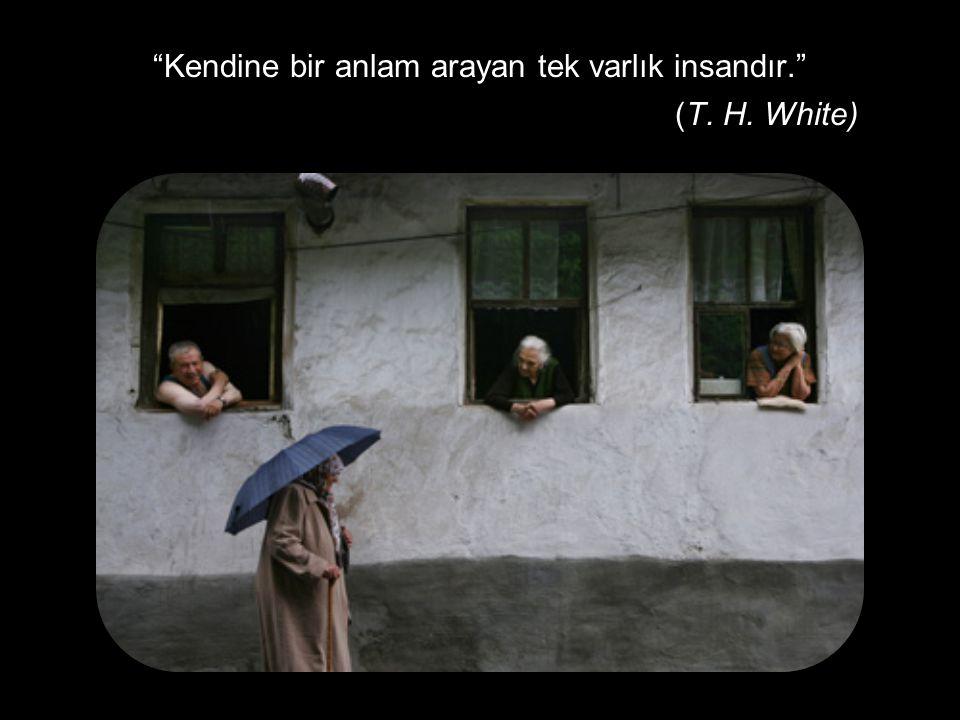 """""""Kendine bir anlam arayan tek varlık insandır."""" (T. H. White)"""