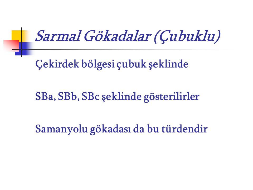 Sarmal Gökadalar (Çubuklu) Çekirdek bölgesi çubuk şeklinde SBa, SBb, SBc şeklinde gösterilirler Samanyolu gökadası da bu türdendir