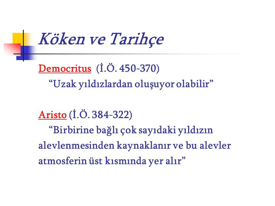"""Köken ve Tarihçe Democritus (İ.Ö. 450-370) """"Uzak yıldızlardan oluşuyor olabilir"""" Aristo (İ.Ö. 384-322) """"Birbirine bağlı çok sayıdaki yıldızın alevlenm"""
